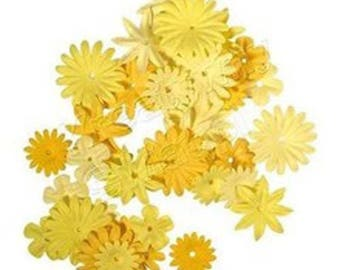 36 RAYHER shades of yellow paper flowers