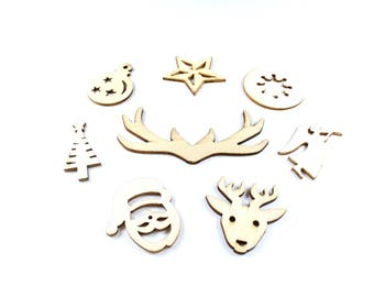 8 figures of natural wood Christmas embellishments around 29 to 30mm x 15-60mm * Christmas Deco *.