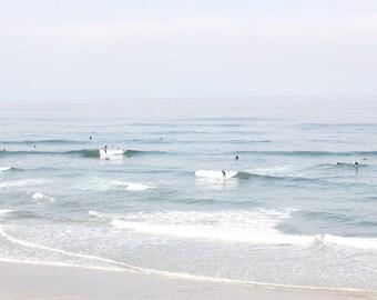Surfers at Terramar Beach in Carlsbad, CA