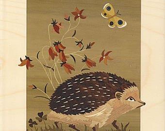 marquetry art Hedgehog 27cm x 32cm