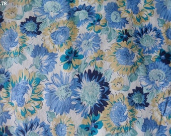 Fabric blue and yellow coupon R78 flowers 35x50cm