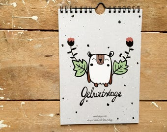 Eco Birthday Calendar A5