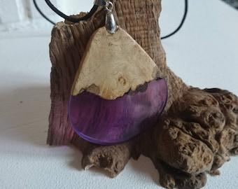 handmade burl oak and translusiant purple infused pendant