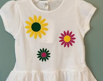 Spring flowers on a ruffled t-shirt for the toddler and little girl