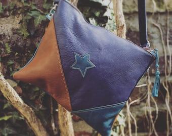 Star patchwork leather shoulder bag