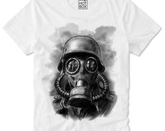 T Shirt HOTBOX Hardstyle Soldier Q Dance Techno Rave Party Trance Gas Mask gasmask defqon
