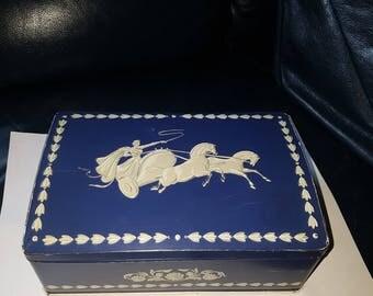 Vintage F.E.Fox &Son Ltd tin with Wedgwood Jasperware decoration