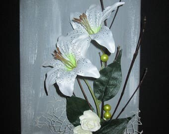 Table with artificial flowers, white lily, 3D, floral, flower arrangement, wedding, gift