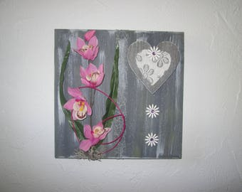 Painting 3D with artificial flowers, pink, cymbidium Orchid, modern, floral arrangement, wedding gift