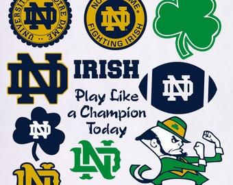 Notre Dame Fighting Irish svg, Notre Dame svg, Irish clipart, shamrock svg, digital – svg, eps, png, dxf, pdf. Cut Print Mug Shirt Decal
