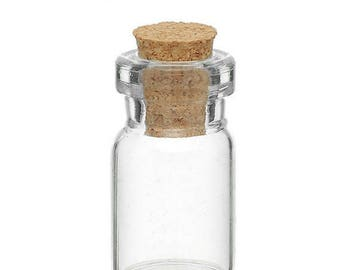 For creating charm set of 2 Mini glass jar for making jewelry charms 22 x 10 mm (BV23) Cork stopper