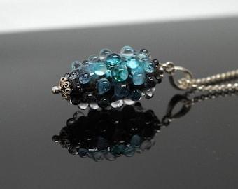 "Pendant  ""Dew on the Rock"" Necklace, Lampwork Vessel Necklace."