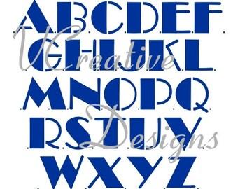 Bijou Upper Case alphabet stencil