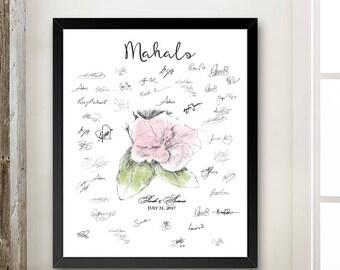 Hibiscus Guestbook Print, Hawaiian Theme, Beach, Fingerprint Guest Book, Wedding, Bridal Shower, Family Reunion (8 x 10- 24 x 36)