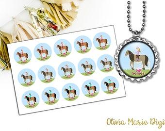 INSTANT DOWNLOAD - Horseback Riding Digital Image - 1 Inch Round - Bottlecap Image - Pendant Image - CU Approved - You Print