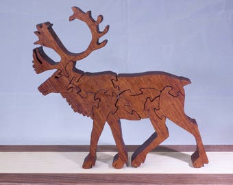Wooden, Free-Standing Caribou (Reindeer) Puzzle