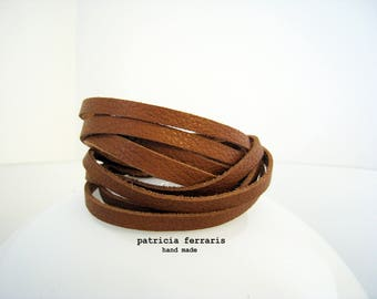 Leather Bracelet double turn brown - caramel