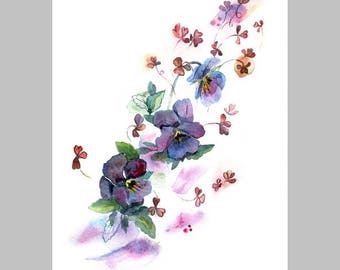 Watercolor hand painted illustration with pansies isolated on white background in gentle tone.