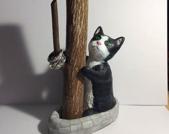 Cat clay ring holder for decoration