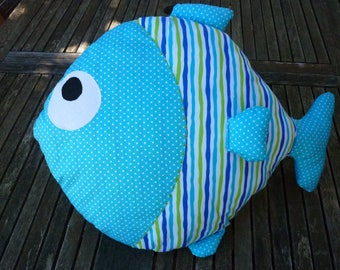 beautiful fish pillow in shades of blue for child's room