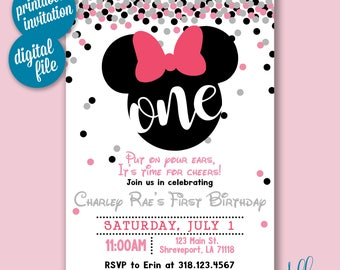 Minnie One Year Old Birthday Invitation