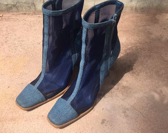 Denim and mesh heel boots size 6.5