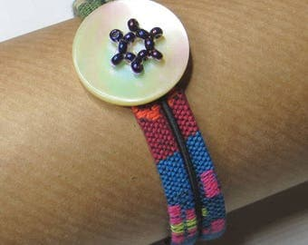 Mother of Pearl, seed Bead Bracelet on colorful laces - #219