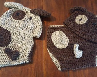 Crocheted Puppy Dog Hat and Diaper Cover Set