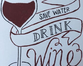 Save Water Drink Wine Canvas