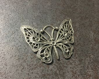 large Butterfly silver color Butterfly pendant charm
