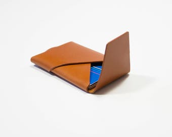 Leather Card holder Card Wallet Oblique Wallet with Flap | Tan