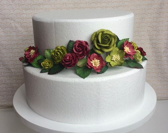 Apple green and burgundy floral cake wrap