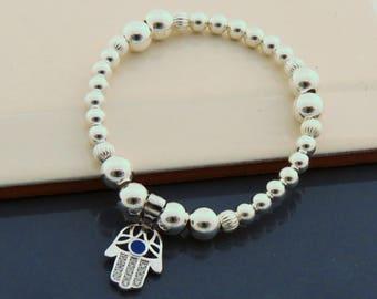 Sterling Silver Hamsa Hand Bracelet, Hamsa Hand Charm, Hamsa Silver Jewelry, Stretch bead Charm Bracelet
