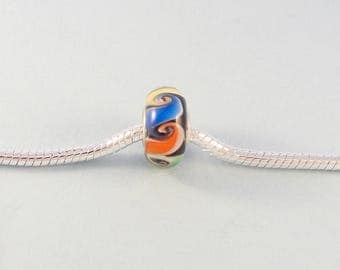 Colorful European charm bracelet bead / multicolored large hole glass bead with silver core