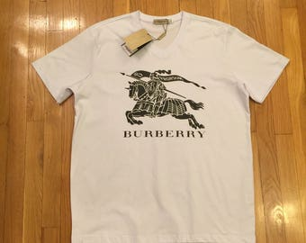 Burberry White & Black T-Shirt - Small