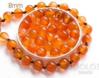 Orange carnelian beads 8mm Yellow stone beads Natural round gemstones Orange stone bead Jewelry making beads / 10 beads About 7-8 cm