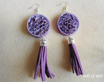 Quilling mauve and purple dangle earrings