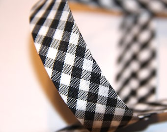 BIAS POLYCOTTON GINGHAM 18MM BLACK AND WHITE