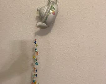 """Handmade Hanging Teapot with Colorful Beads """"Windchime"""""""