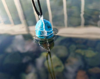 Turquoise Wire Wrapped Crystal Necklace