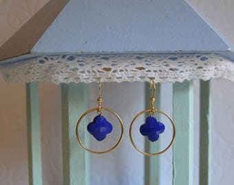 Earrings Royal Blue clover and gold circle