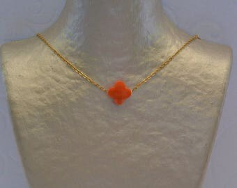 Orange clover necklace and gold chain