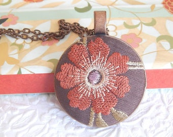 Brown embroidered floral necklace, add a metal chain or organza necklace, bridesmaid gifts