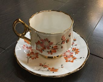 Rosina Bone China teacup with orange flowers