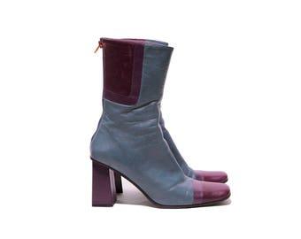 Karen Millen blue and purple block heeled ankle boots