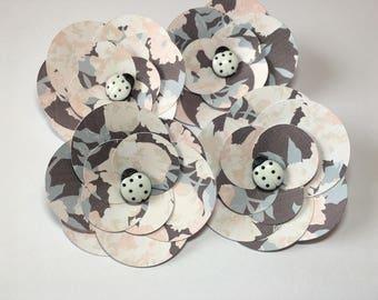 Paper Flowers, Dark Gray/Pink  (4)