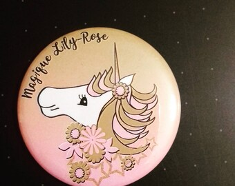 Unicorn magnet personalized 56mm