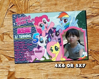 My Little Pony Invitation,My Little Pony Birthday Invitation,My Little Pony,My Little Pony Birthday Party,Girl Invitation,Photo Invitation