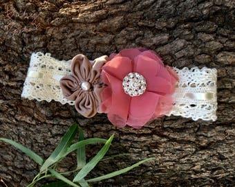 Handmade Dusty Rose Baby Headband