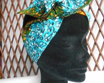 African print turban reversible for woman or child headband
